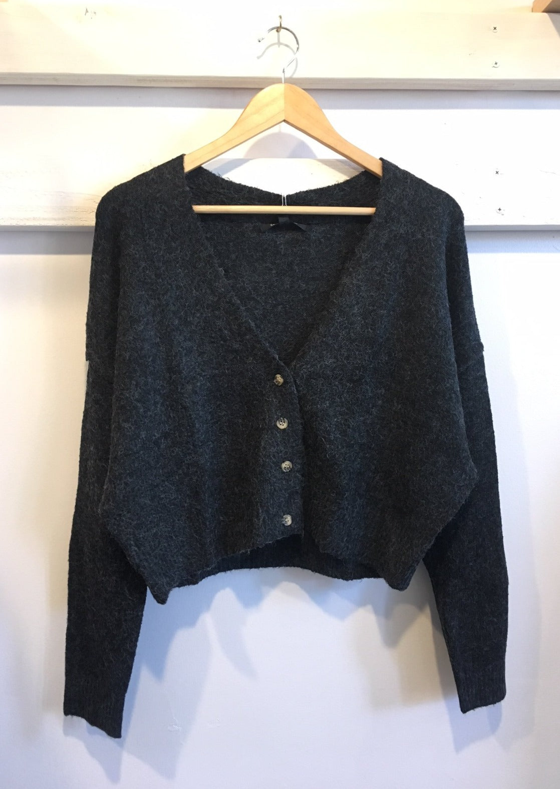 Cropped Grandfather Cardigan