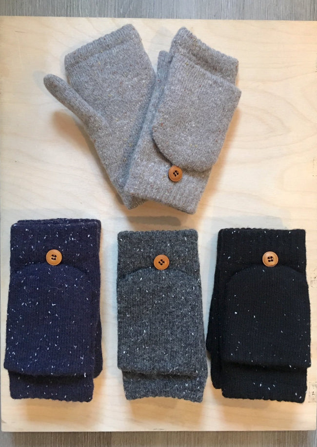 Wool Blend Fingerless Convertible Mittens
