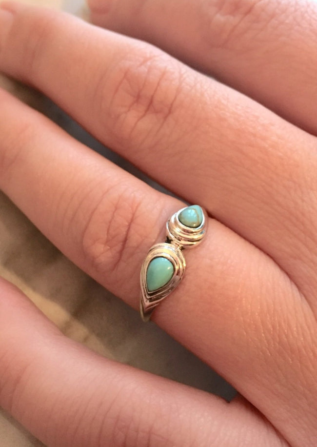 Turquoise Duo Sterling Silver Ring