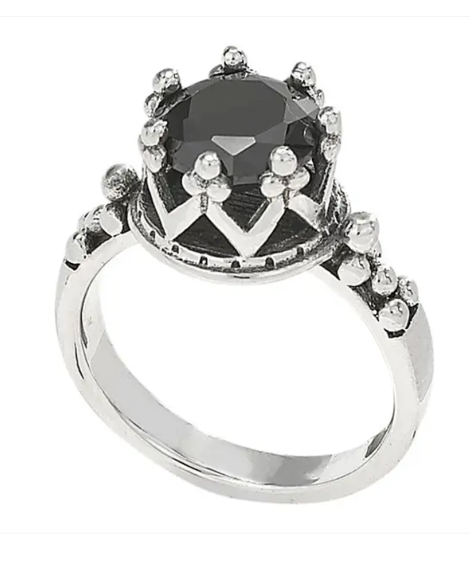 Black Onyx Crown Sterling Silver Ring