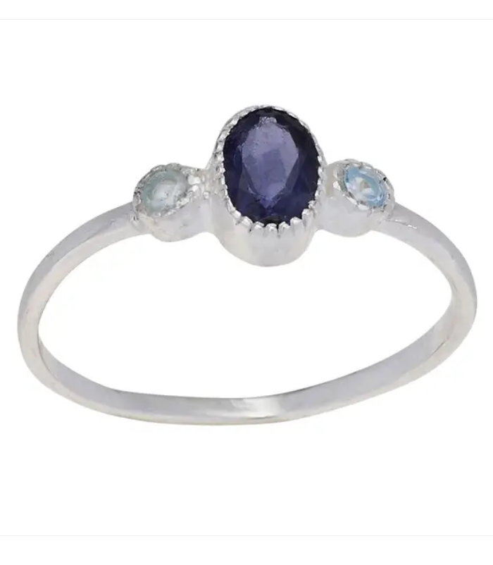 Purple Iolite and Blue Topaz Sterling Silver Ring