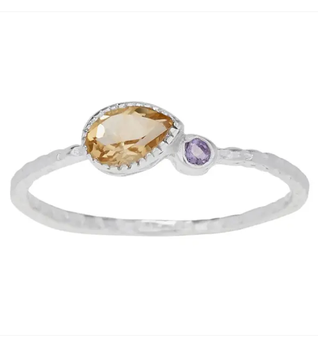 Teardrop Citrine and Amethyst Sterling Silver Ring