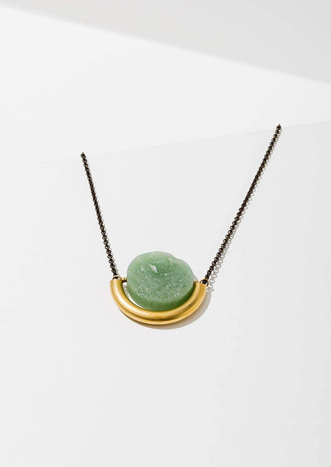 Sun and Moon Necklace in Green Aventurine