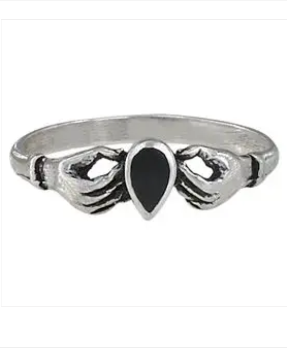 Black Onyx Fede Claddagh Sterling Silver Ring