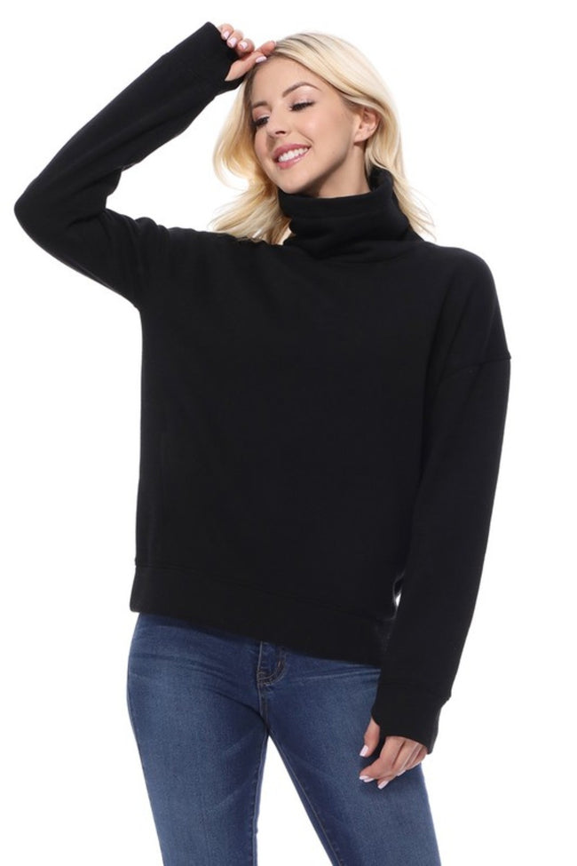 Turtleneck Pullover Sweatshirt in Black