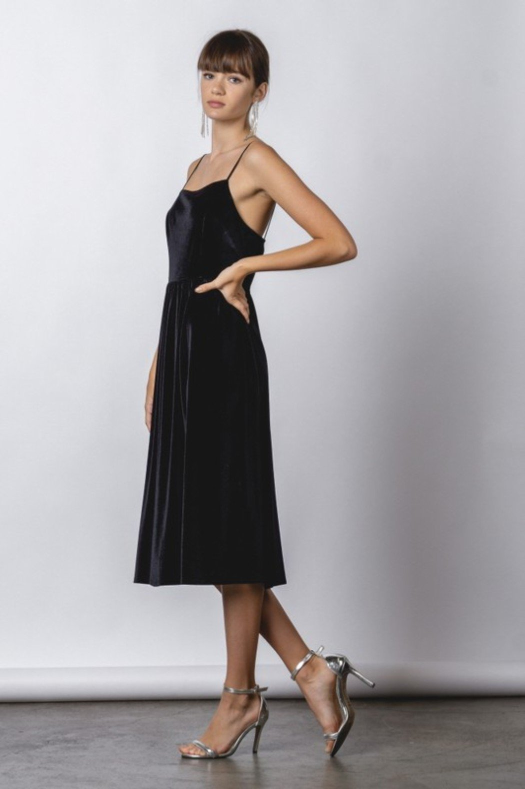 Black Velvet Midi Dress with spaghetti straps