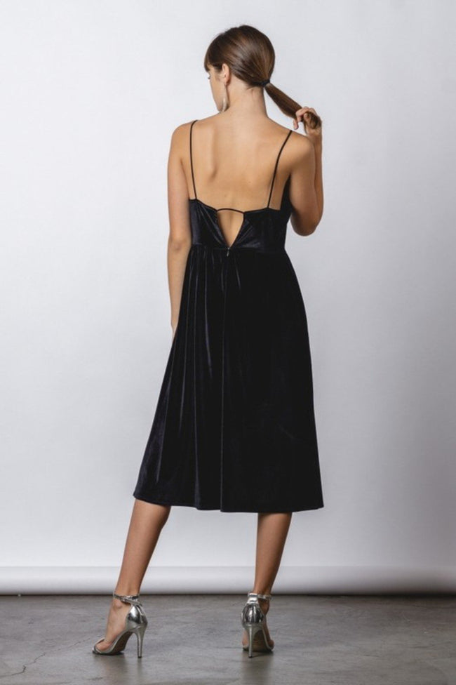 Black Velvet Midi Dress with spaghetti straps and open back detail