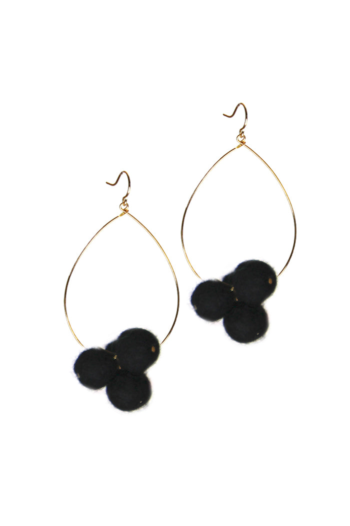 Pom Pom Teardrop Earrings in Black