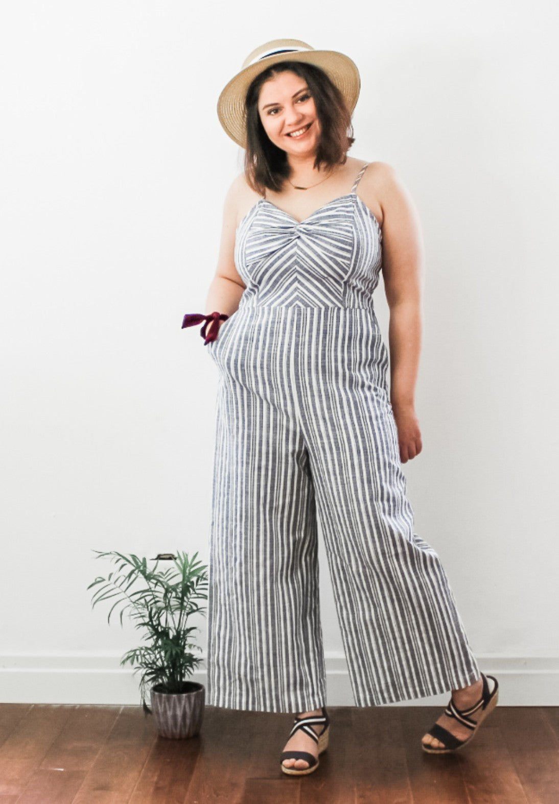 Blue Chambray Striped Jumpsuit