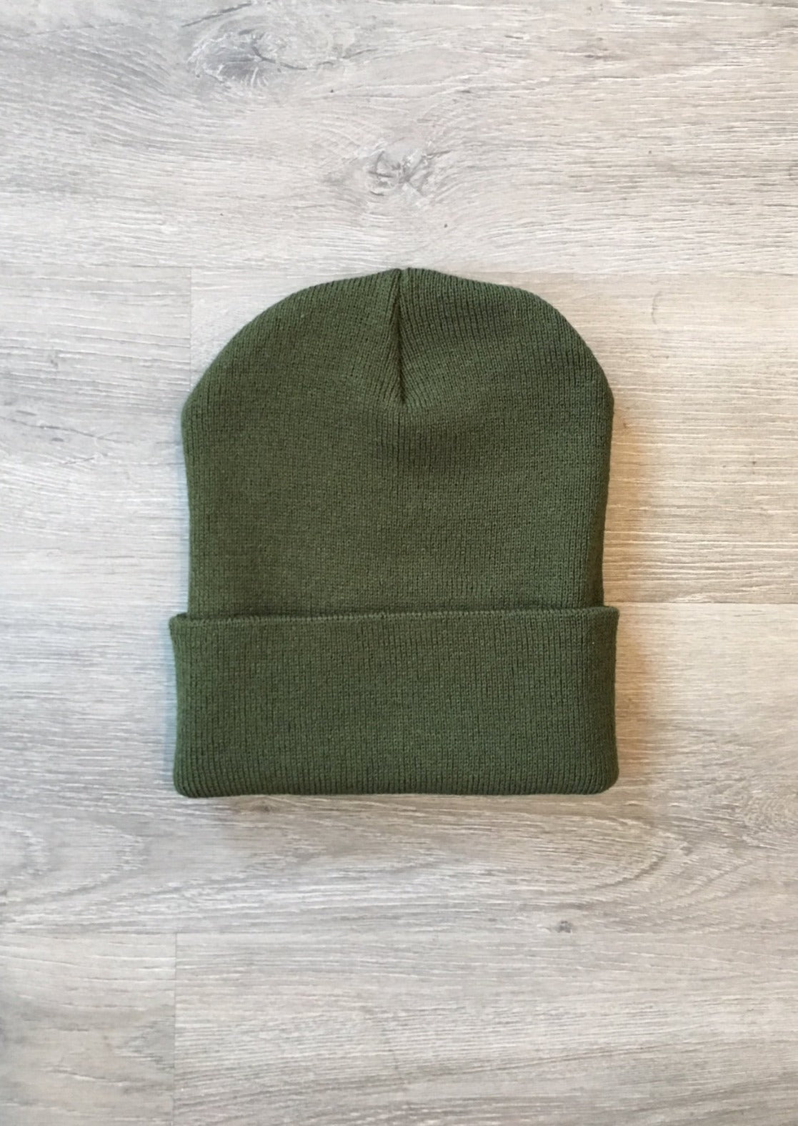 Made in USA Classic Cuffed Beanie Unisex Olive Green