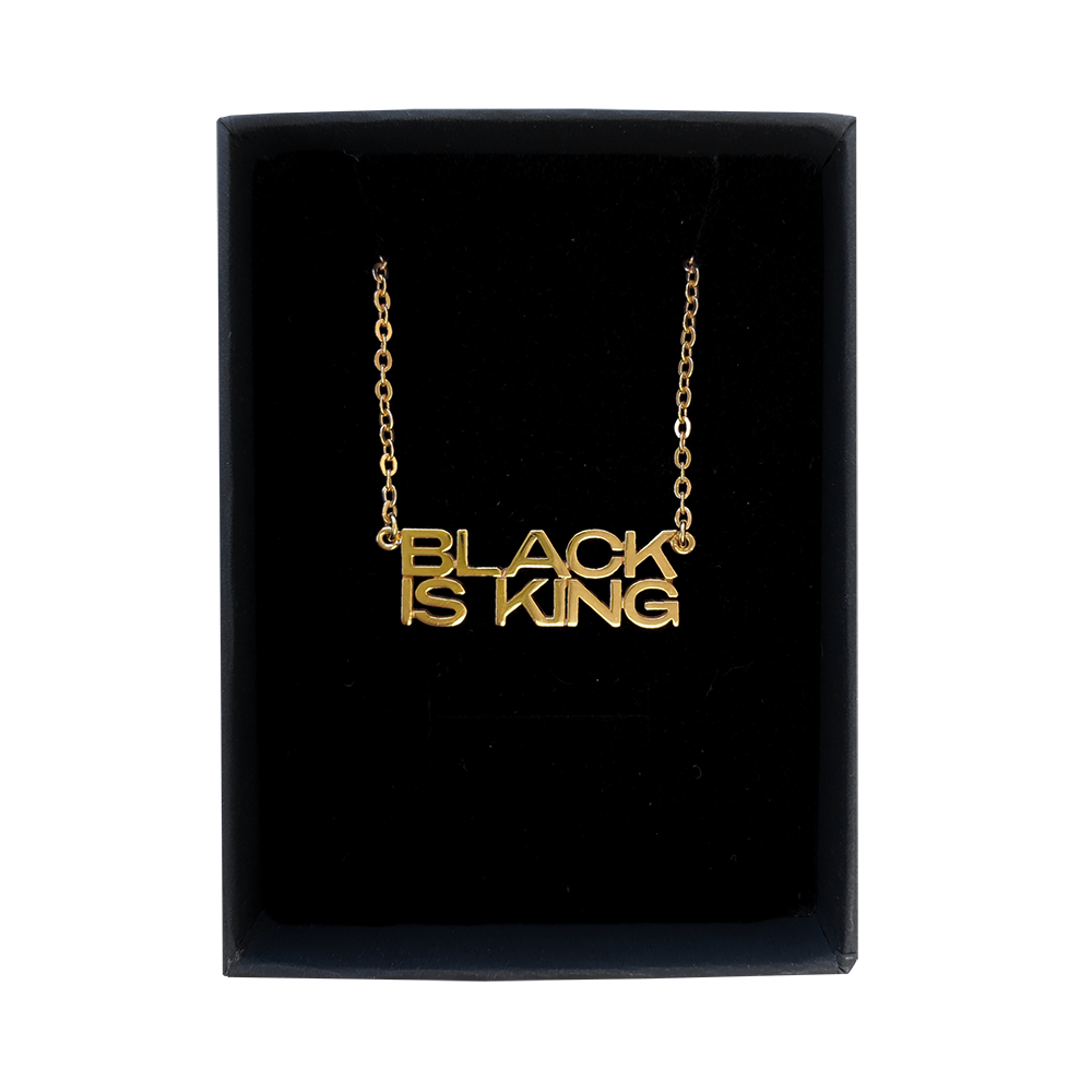 Black Is King Nameplate Necklace by Melanie Marie