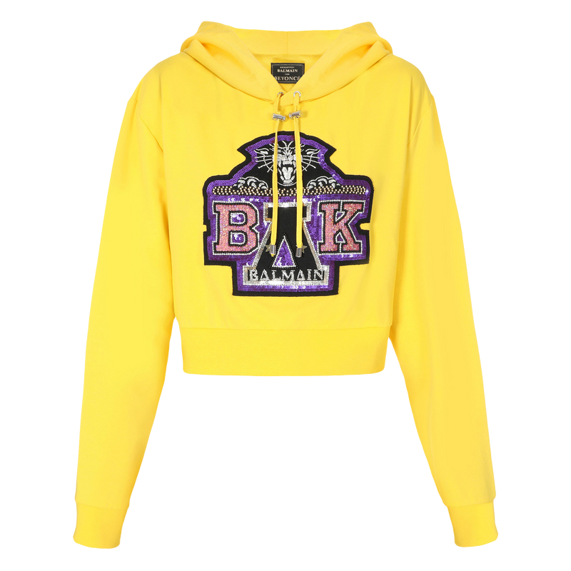 BALMAIN FOR BEYONCÉ Cropped Yellow Hoodie