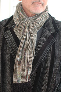 Cream Herringbone Scarf - made to order