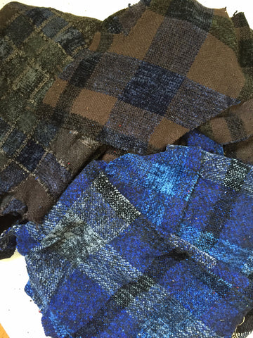 Hand woven Fabric Swatches in BLUES