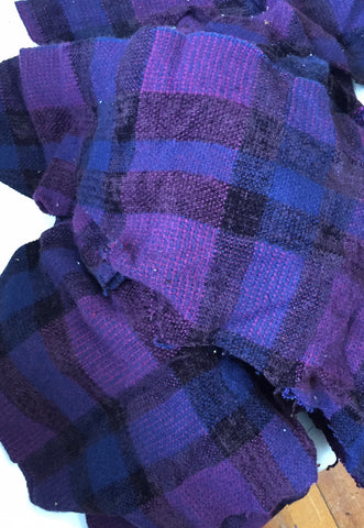 Hand Woven Fabric Swatches in Plums and Navy