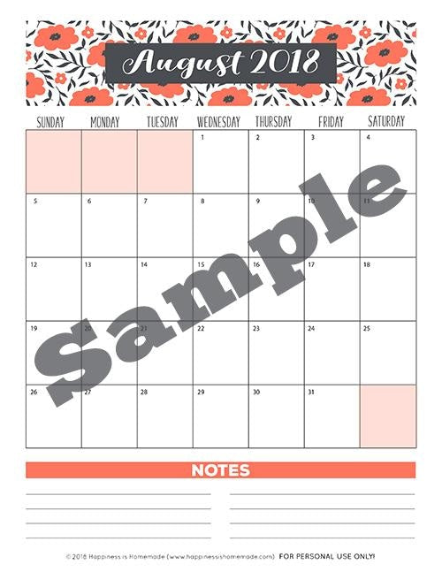 17-Month Calendar: 2018-2019 - Bouquet Printable
