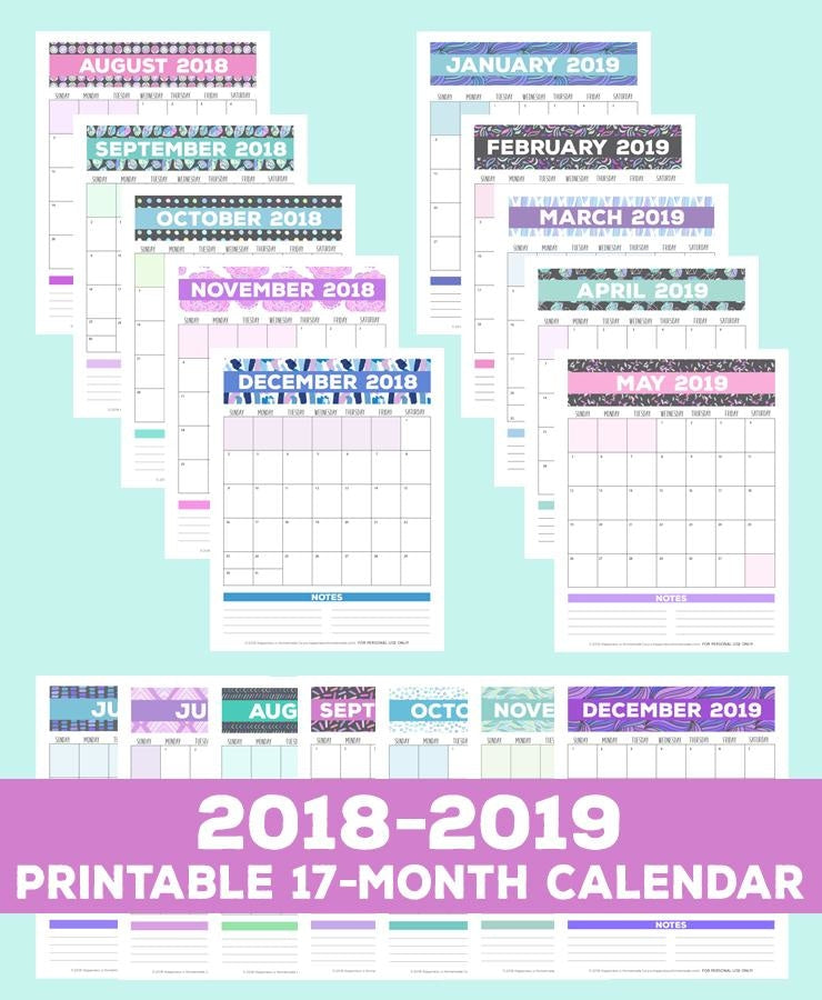 17-Month Calendar: 2018-2019 - Patterns