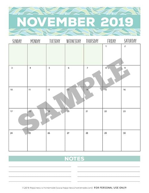 17-Month Calendar: 2018-2019 - Patterns Printable