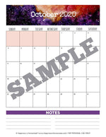17-Month Calendar: 2019-2020 - Galaxy Printable