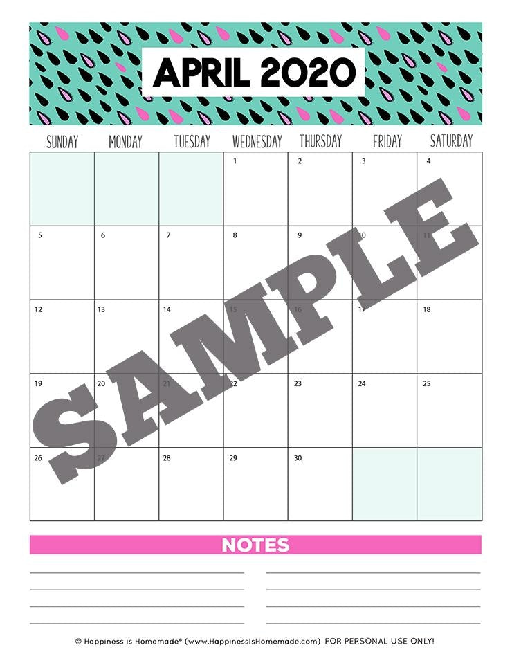 17-Month Calendar: 2019-2020 - Patterns Printable