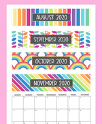 17-Month Calendar: 2020-2021 - Rainbows