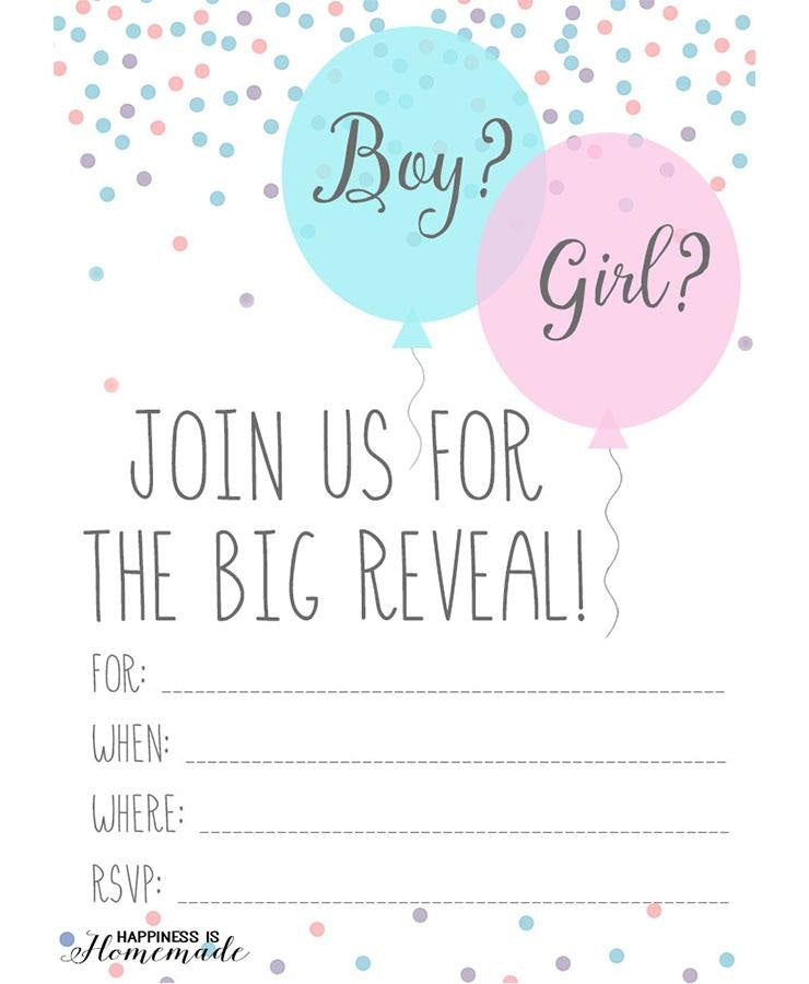 Baby Gender Reveal Invitations Printable
