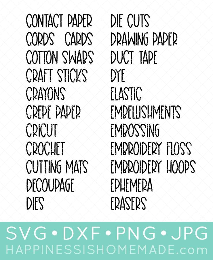 Craft Room Labels SVG SVG File