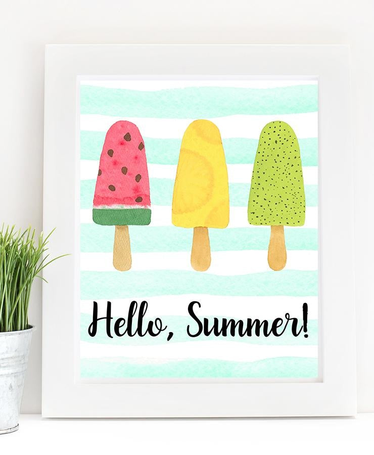 Hello, Summer! Popsicle Print