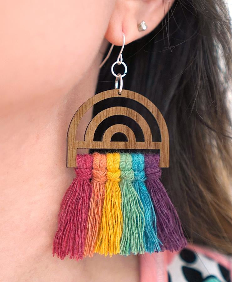 Wood Jewelry Findings: Rainbow Earrings