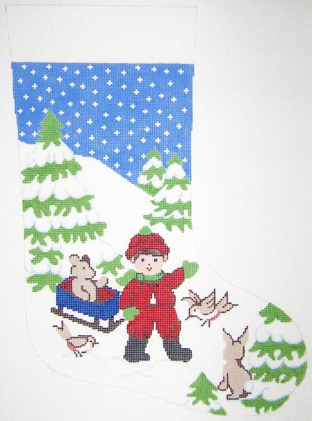 Boy with Sled Christmas Stocking