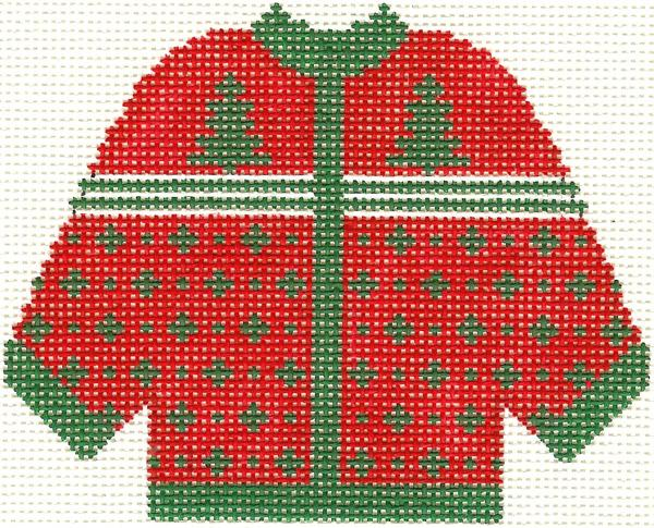 Red w/ Green Trees Cardigan Ornament