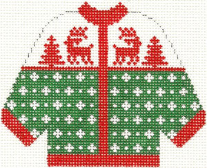 Green w/ Red Reindeer Cardigan Ornament