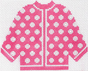 Hot Pink w/ White Polka Dots Cardigan Ornament