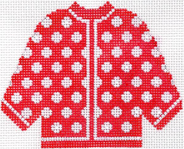 Red w/ White Polka Dots Cardigan Ornament