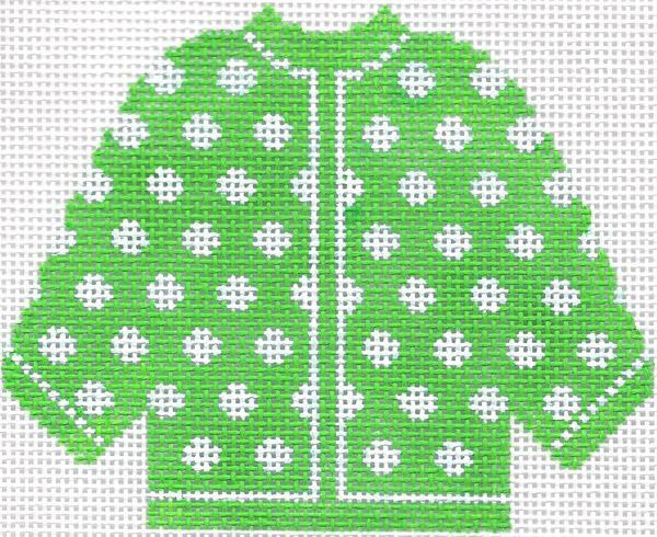 Lime Green w/ White Polka Dots Cardigan Ornament