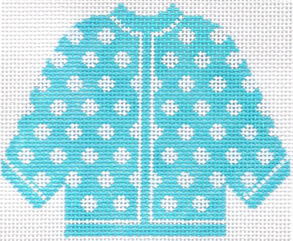 Sky Blue w/ White Polka Dots Cardigan Ornament