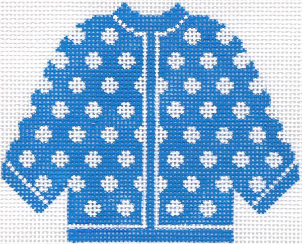 Blue w/ White Polka Dots Cardigan Ornament
