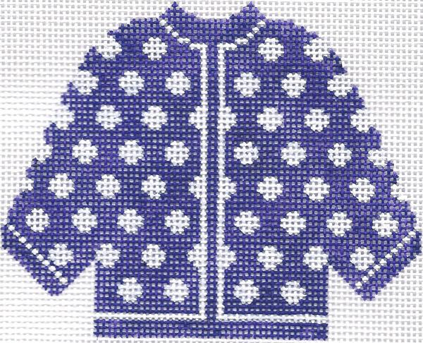 Purple w/ White Polka Dots Cardigan Ornament
