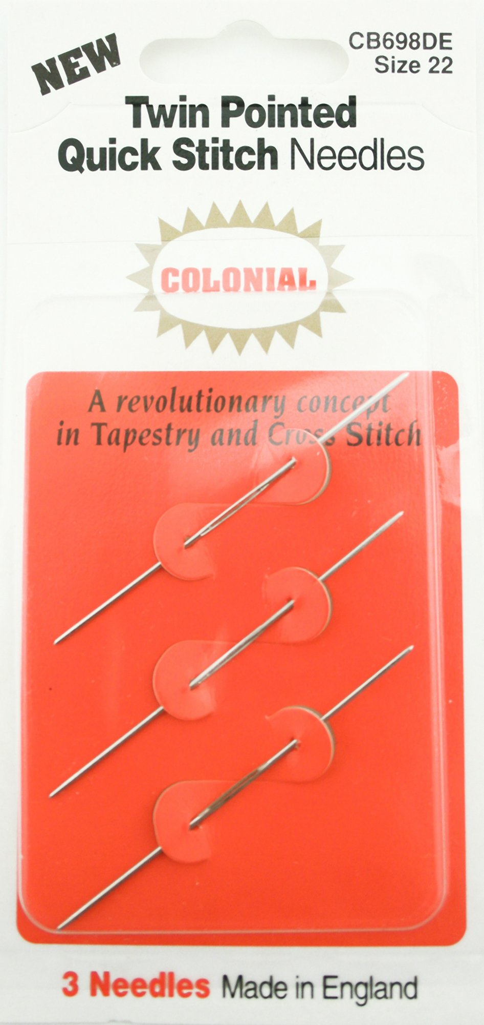Size 28 Colonial Needle JJ698-28 Twin Pointed Quick Stitch Tapestry Hand Needles 3-Pack