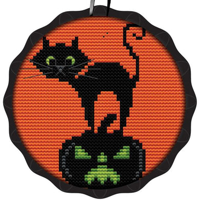 Cat w/ Pumpkin Spooky Ornament