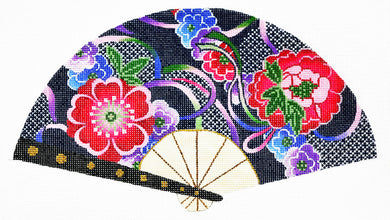 Floral On Navy Fan