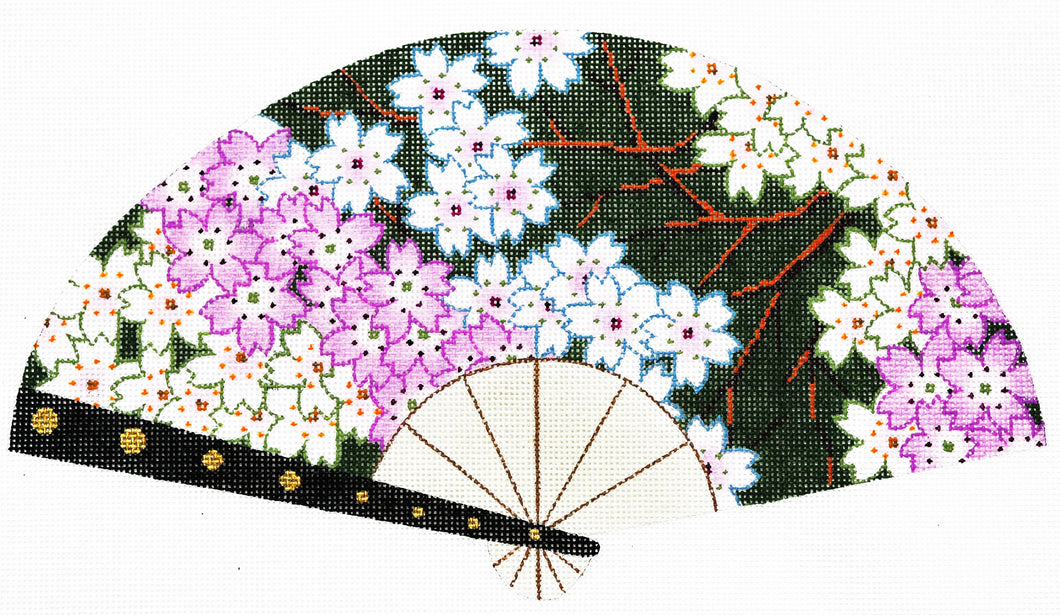 Cherry Blossoms on Green Fan