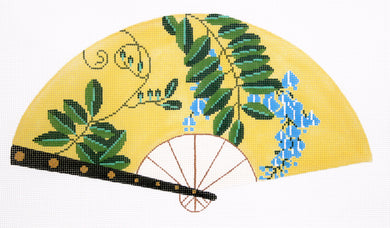 Blue Floral on Yellow Fan