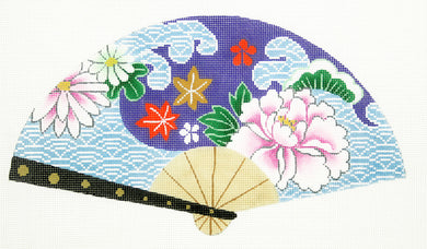 Wave with Purple Flower Fan