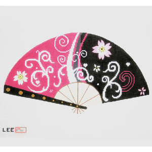 Pink & Black Blossom Fan