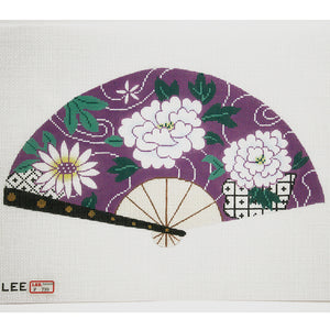 White Floral on Purple Fan