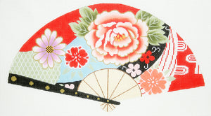 Blossoms on Red Fan