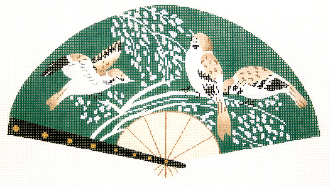 Birds on Green Fan