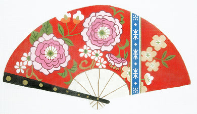 Pink Blossoms on Red Fan