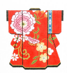 Pink Blossoms on Red Kimono